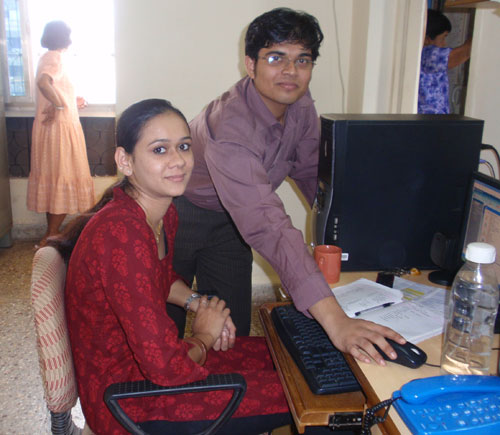 Prajakta, Program Manager and Gaurav, Book keeper working at the SHARE office