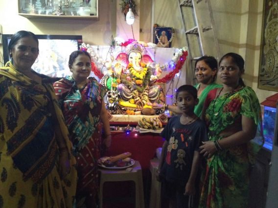 Bharti from Nirman Collective invited other members to worship Lord Ganesh